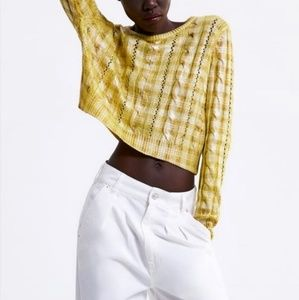 Zara Metallic Cable Knit Sweater Cropped size M